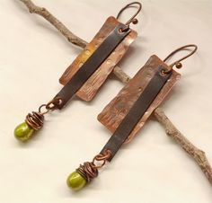 Hammered Rustic Copper Earrings by SunStones on Etsy