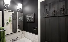 Before & After: A Boring Bathroom Gets Some Dark Drama — Sweeten | Apartment Therapy