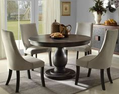 solid pedestal round table with upholstered chairs | Round Pedestal Dining Set & Kincaid Furniture Alston 5 Piece Table and Chair Set | Florida Condo ...