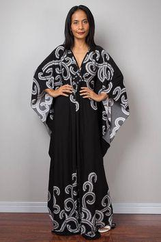 Kaftan Dress Maxi Dress Long boho dress Black dress Summer