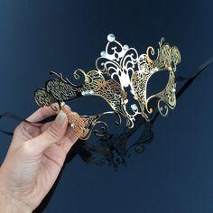 Masquerade Mask, Intricate Gold Mask,  Gold Masquerade Mask, Masquerade Ball Mask, Mask with Rhinest