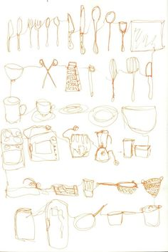 Jessica Hopewell: In the kitchen (continuous line drawing)