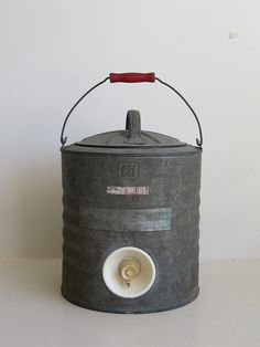 tti houston texas 2 gallon galvanized water cooler jug vintage
