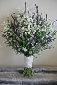 Silk, artificial, dried Lavender and Gyp brides bouquet.