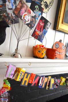 Candy wrapper Halloween banner....really cute idea for a playroom!!