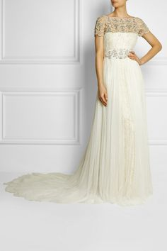 Marchesa|Embellished tulle and lace gown|NET-A-PORTER.COM