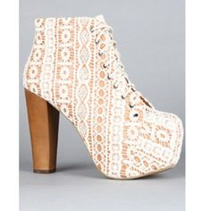 White lace Jeffrey Campbell Litas size 7.5 Gorgeous white lace Jeffrey Campbell Litas! Super comfortable and cute with any outfit. Some discoloration on the front of the toes and some scuffing on the heel but overall in good condition. Jeffrey Campbell Shoes Heels