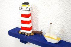 Leuchtturm kleines Wandobjekt aus Holz Miniskyline von SchlueterKunstundDesign - Wohnzubehör, Unikate, Treibholzobjekte, Modeschmuck aus Treibholz auf DaWanda.com