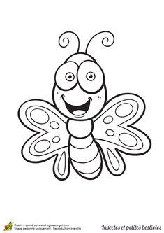 Dessin à colorier insecte et petite bestiole, un papillon - Hugolescargot.com