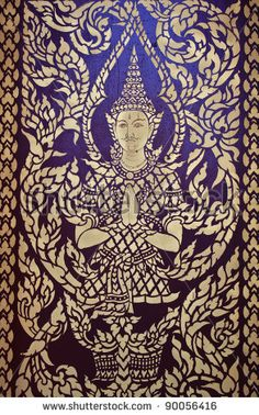 Ancient art pattern on the wooden door in Thai temple by canonzoom, via ShutterStock
