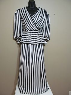 Black and white stripe Vintage peplum blouse and skirt