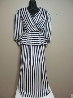 Black and white stripe Vintage peplum blouse and skirt