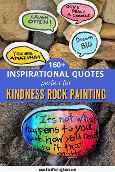 Check out our mega list of over 160+ Inspirational quotes and sayings for kindness rocks. Perfect quotes for painted rocks and any craft project. These inspirational words have the ability to make you feel uplifted and motivated to reflect positive emotions to change the way we feel about ourselves. What better way to spread kindness to others but by painting rocks with inspiring words. Uplifting Quotes, Positive Quotes, Inspirational Quotes, Kindness Quotes, Kindness Rocks, Quotes For Kids, Family Quotes, Kindness Activities, Family Activities