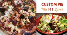 "http://www.custompie.com/menu/ The $11 Pizza Lunch includes one 9"" pizza of your choice and our delicious mixed greens salad (M-F until 2:30). Yum!"