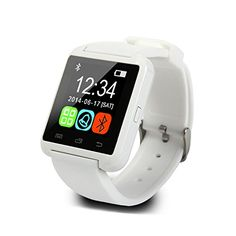 """U8 Bluetooth Smart Watch U Watch WristWatch Women Men Sports Watches For iPhone 4S/5S Samsung Android Phone Remote Taking Photo (White). 1.48"""" Capacitive Touch Screen TFT LCD. Ringing reminder when you receive a call. Display the number or name of incoming calls, answer or Dial calls from your wrist. Ring reminder when your Android 2.3 or above smart phone receive a message (including Wechat, Facebook, Twitter,WhatsApp, Skype,and so on). Remote taking photo function:You can control your..."""