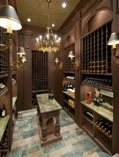 Custom wine cellar designed by Tracy Rasor, Dallas Design Group Interiors, and built by Sharif and Munir Custom Homes. Caves, Wine Cellar Basement, Home Wine Cellars, Wine Cellar Design, Wine Decor, Wine Cabinets, Wine Storage, Fashion Room, Home Brewing