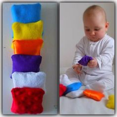 Montessori baby toys - Sensory Bean Bags perfect for babies. They are simple open-ended toys that allow babies to experience many different… Baby Sensory Play, Baby Play, Diy Sensory Toys For Babies, Baby Sensory Bags, Homemade Baby Toys, Baby Diy Toys, Toy Diy, Toy Craft, Montessori Baby Toys