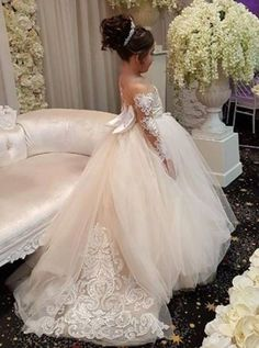 d16a71bfe32 Long-Sleeve Lace Gown Romantic Ball 2018 Flower Girls Dresses BA7399 High  Quality Wedding Dresses