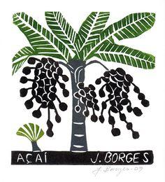 José Francisco Borges (Brazil), Woodcut print on paper (image size x 6 on 11 x sheet), 2014 Exact design and colors may vary. Arte Popular, Popular Art, Brazil Art, Forest Design, Tropical Art, Indigenous Art, Tree Print, Naive Art, Office Art