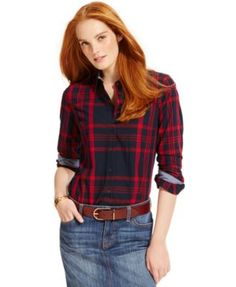 Tommy Hilfiger Plaid Button-Down Shirt, Only at Macy's | macys.com