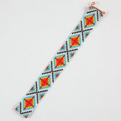 Ranchero Bead Loom Bracelet Artisanal Jewelry Native Motif Western Beaded Gypsy…