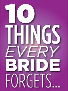 Every bride forgets this...