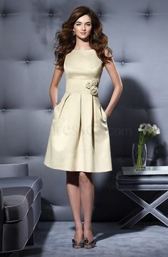 Cinderella Flower Zip up A-line Satin Sabrina Bridesmaid Dress