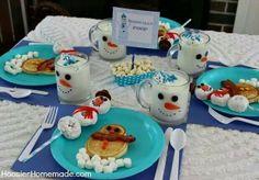 Snowman breakfast. I love the donuts!