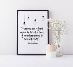 Framed Harry Potter Wall Art Print| Harry Potter Gift | Dumbledore Quote |Happiness can be found even in the darkest of times Quote| A3/A4 by HollyIsabellaPrintCo on Etsy https://www.etsy.com/listing/525786913/framed-harry-potter-wall-art-print-harry