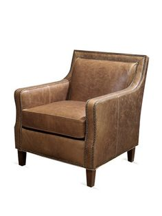 distressed leather chair w/ nailhead trim  by Harden Furniture