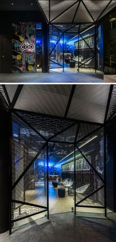 The eye-catching entrance of this Singaporean hostel is framed by metal mesh…