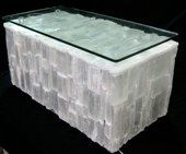Selenite side table with glass top. Love the white crystalized base, so elegant!