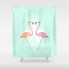 "FLAMINGO PARTY  by Monika Strigel Shower Curtain / 71"" by 74"" $68.00"