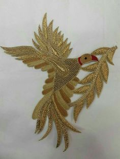 Beautiful work to Zardosi Embroidery, Hand Embroidery Flowers, Embroidery Works, Gold Embroidery, Hand Embroidery Designs, Embroidery Stitches, Hand Work Design, Maggam Work Designs, Clothing And Textile