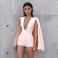 2016 Summer Women short jumpsuit female Cloak Bodysuit  Sleeveless Short Overalls White Rompers womens drop V neck Pink jumpsuit