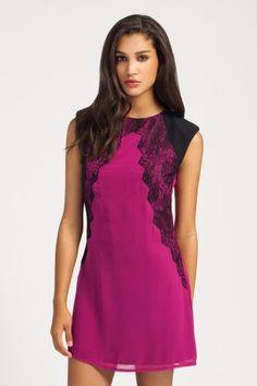 raspberry and black lace panel dress. little mistress.