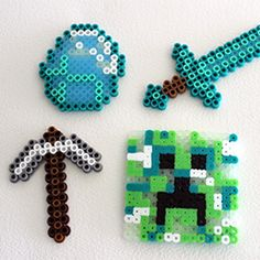 Use fuse beads to create fun magnets for your MIneCraft fan.