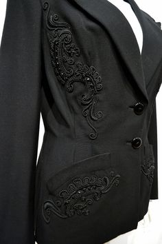 Beautiful 1940's Black Gabardine Fitted Evening Jacket with Soutache and Jet Decorative Trim 30 inch Waist