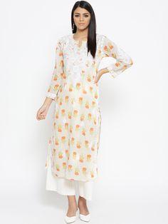 #Ada #handembroidered Fawn #Orange #Cotton #Lucknowi #Chikankari #Kurti- A100025 denotes the rich craft of #Awadh  #Adachikan #chikanembroidery #chikanstitches #shoponline