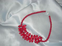 $55.00 #Red Coral teardrop necklace with red fossil beads and sterling clasp.  19 inches. Great #gift.