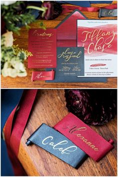 Burgundy red, navy blue and gold wedding stationery:A moody winter inspired wedding invitation. The invitation used deep reds and charcoal colours with a touch of gold. Torn edges and scroll-styled place cards created an old world antique feel with a water colour effect on the main invitation to add a modern, fresh approach.