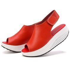 2017 Summer Women Sandals Casual Peep Toe Swing Shoes Ladies Platform Wedges Sandals Walk Shoes Woman Sandalias Leather Zapatos