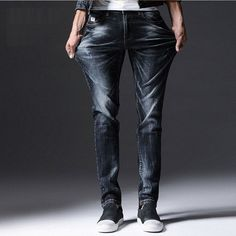 HTLB Men Washed Cotton Jeans 2017 New Brand Straight Slim Hole Slim Casual Jeans Pants Long Trousers High Quality CQ751 #Affiliate
