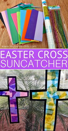 cross Easter Cross Sun Catcher Craft Easter is the time of year when we celebrate and remember what Jesus did on the cross for us. And like most holidays, it's a great time to do fun activities and crafts with your Easter Crafts For Toddlers, Easter Activities, Kids Crafts, Fun Activities, Craft Projects, Bunny Crafts, Creative Crafts, Toddler Church Crafts, Craft Kids