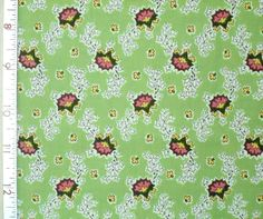 1YD Reproduction CALICO FLORAL Sage Green Virginia Robertson Fabri-Quilt Fabric #FabriQuilt