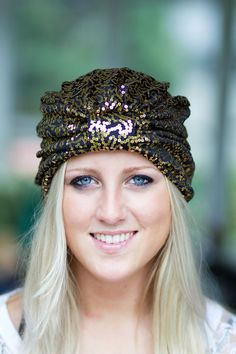 Gold and Black Sequin Turban by by mademoisellemermaid on Etsy, $30.00