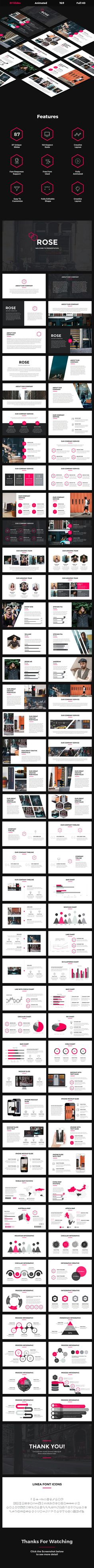 Buy Rose - Creative Keynote Template by rapidpixel on GraphicRiver. Rose – Creative Keynote Template Features: 83 Unique Creative Slides Smart and Innovative Presentation Slides Modern. Company Presentation, Marketing Presentation, Corporate Presentation, Presentation Slides, Presentation Design, Presentation Templates, Powerpoint Tips, Professional Powerpoint Templates, Creative Powerpoint Templates