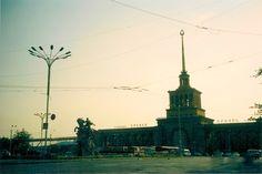 Train station in Yereven still with Soviet symbol in 2004 - Armenia