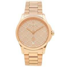 c794d49804c Gucci YA126482 Mens G Timeless Rose Gold Diamond Pattern Quartz Watch   luxury  gucci