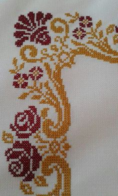 This Pin was discovered by Hul Cross Stitch Borders, Cross Stitch Flowers, Cross Stitch Designs, Cross Stitching, Cross Stitch Patterns, Ribbon Embroidery, Cross Stitch Embroidery, Embroidery Patterns, Palestinian Embroidery